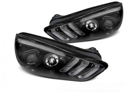 Přední světla Ford Focus MK3 14-18 DRL LED SEQ INDICAOR černá