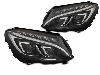 Přední světla Mercedes Benz W204, C-classe 14-18 LED DRL černá