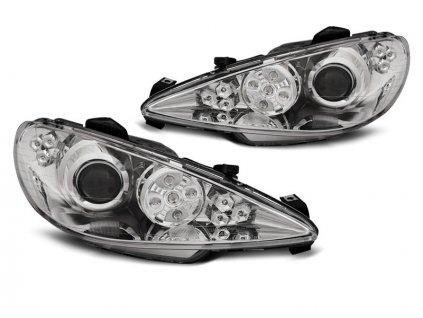 Přední světla Peugeot 206 02-07 Angel Eyes  LED chrom