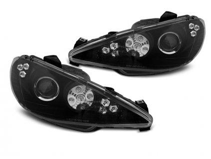 Přední světla Peugeot 206 02-07 Angel Eyes  LED černá