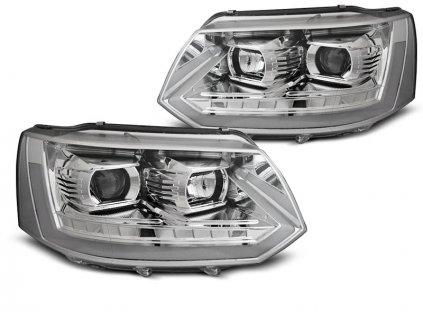 Přední světla VW T5 10-15 LED TUBE LIGHT T6 LOOK chrom