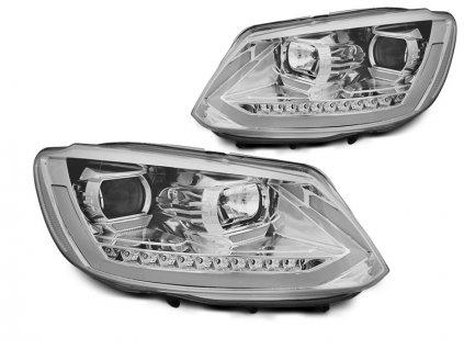 Přední světla VW Touran II  10-15 chrom TUBE LIGHT TRU DRL SEQ