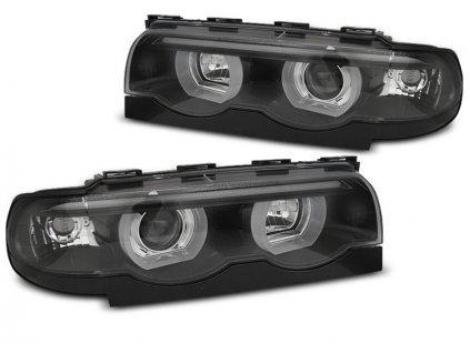 Přední světla BMW E38 94-01 Angel Eyes - černá 3D