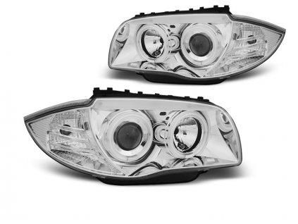 Přední světla BMW 1 E87, E81 04-11 - chrom Angel Eyes CCFL