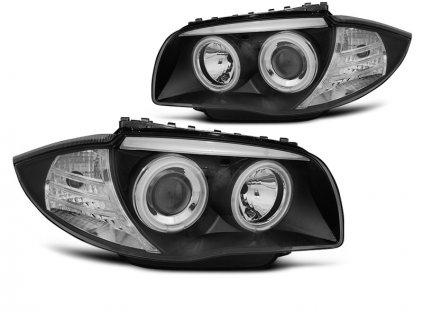 Přední světla BMW 1 E87, E81 04-11 - černá Angel Eyes CCFL