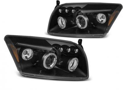 Přední světla Dodge Caliber 06-12 ANGEL EYES černá