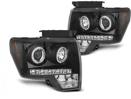 Přední světla Ford F-150 MK12 08-14 Angel Eyes - černá