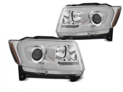 Přední světla Jeep Grand Cherokee 11-13 - chrom TUBE LIGHT SEQ