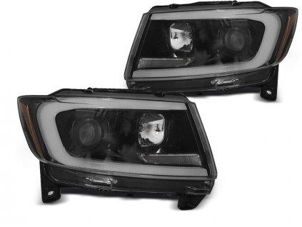 Přední světla Jeep Grand Cherokee 11-13 - černá TUBE LIGHT SEQ