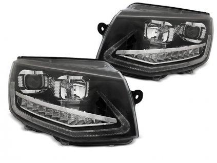 Přední světla VW T6 15-19 TUBE LIGHT DRL CHROME SEQ černá