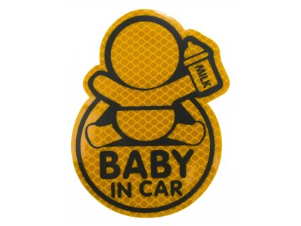Dekor samolepící BABY IN CAR žlutý