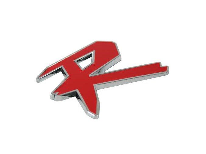 Plastový samolepící 3D znak, chrom, dvoubarevné - R