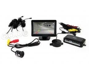 """Parkovací senzory bílé - 4 senzory TFT 4,3"""" s kamerou pro noční vidění"""