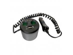 Rozdvojka a tester baterií 12V + USB Power Cup 3v1