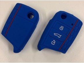 Silikonový kryt klíče VW Golf VII MK7, Škoda Octavia III A7 - modrý
