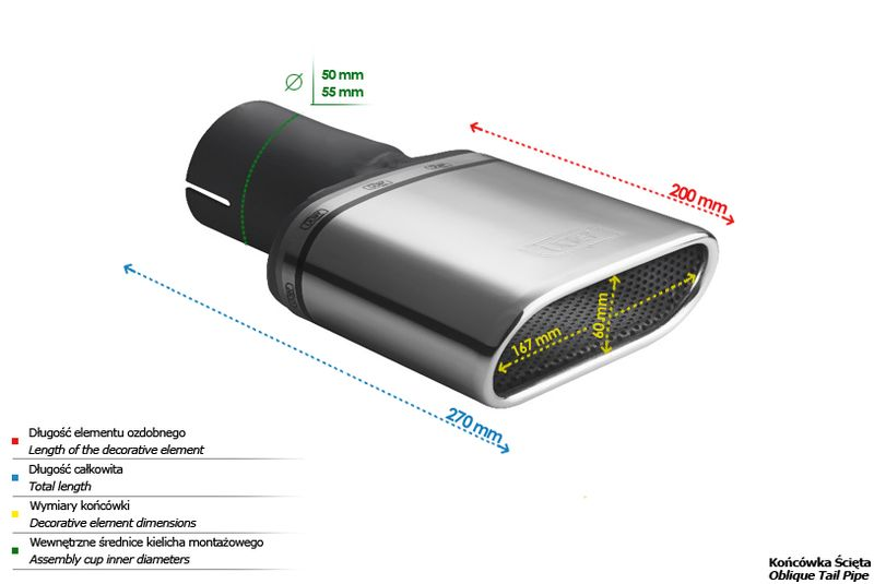 ULTER SPORT Koncovka výfuku 1x167x60 mm N1-50D