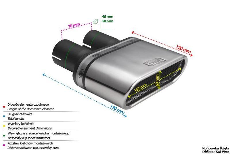 ULTER SPORT Koncovka výfuku 1x167x60 mm N3-50