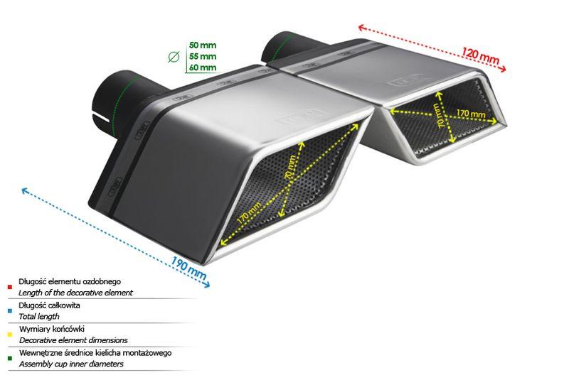 ULTER SPORT Koncovka výfuku 1x170x70 mm, levá N1-36L