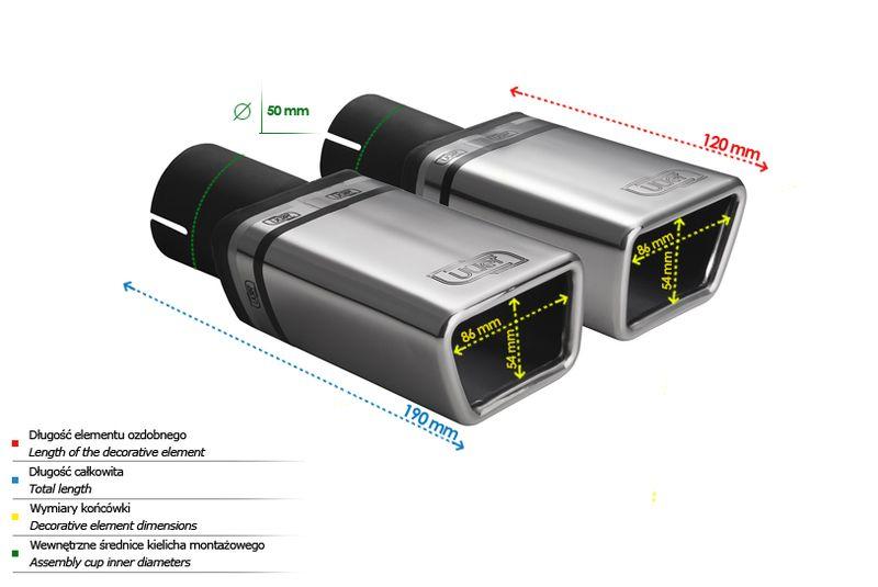 ULTER SPORT Koncovka výfuku 1x86x54 mm, levá N1-58L*