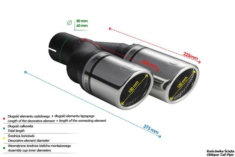 ULTER SPORT Koncovka výfuku 2x100 mm, levá N2-101RSL