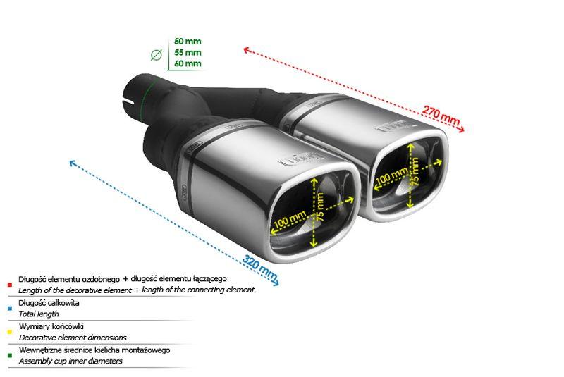 ULTER SPORT Koncovka výfuku 2x100x75 mm N2-24