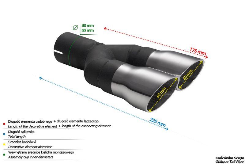 ULTER SPORT Koncovka výfuku 2x60 mm N2-53