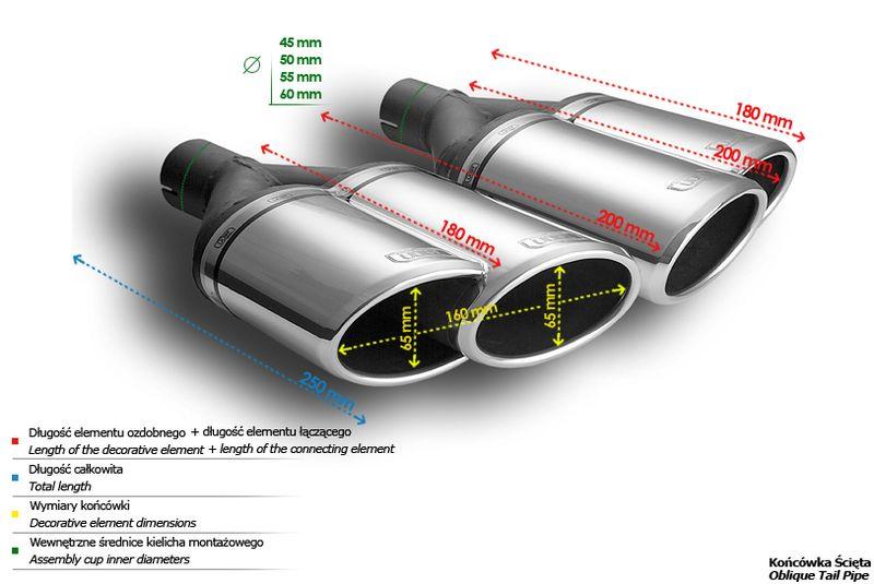 ULTER SPORT Koncovka výfuku 2x65 mm, levá N2-56L*
