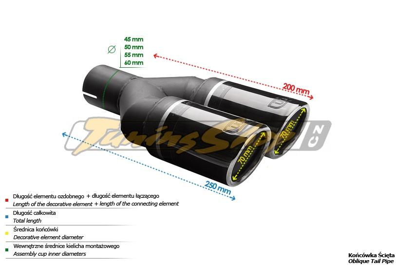 ULTER SPORT Koncovka výfuku 2x70 mm BlackLine NBL2-70RS*