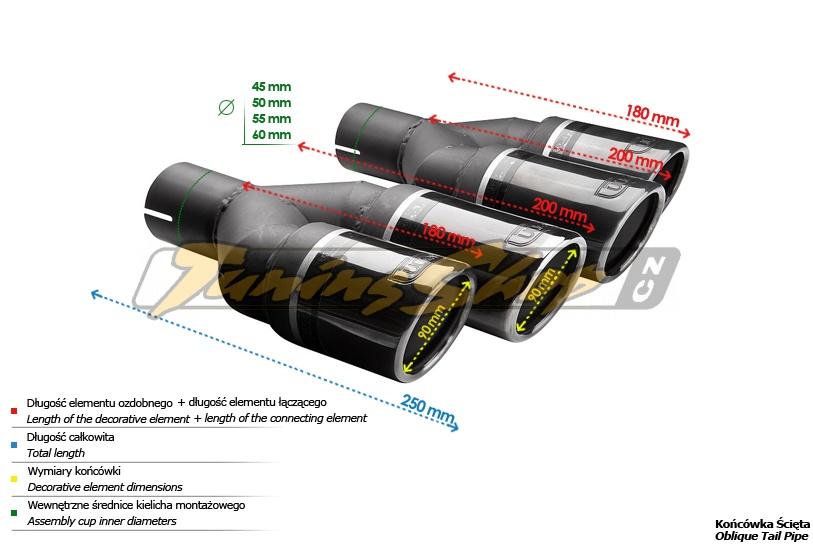 ULTER SPORT Koncovka výfuku 2x80 mm BlackLine, pravá NBL2-90RSP*
