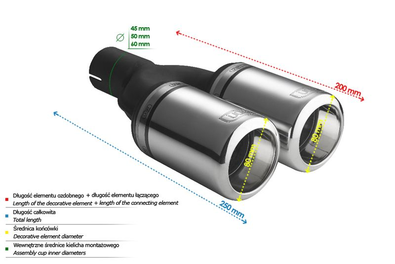 ULTER SPORT Koncovka výfuku 2x80 mm N2-07-1
