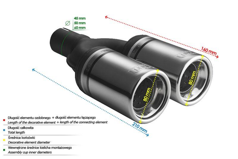 ULTER SPORT Koncovka výfuku 2x80 mm N2-07K