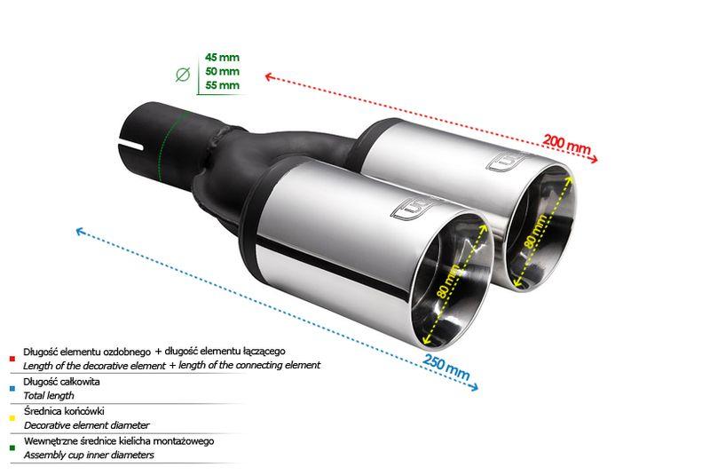 ULTER SPORT Koncovka výfuku 2x80 mm N2-61