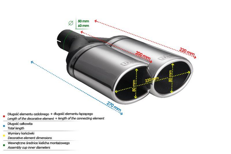 ULTER SPORT Koncovka výfuku 2x80 mm, levá N2-54L*