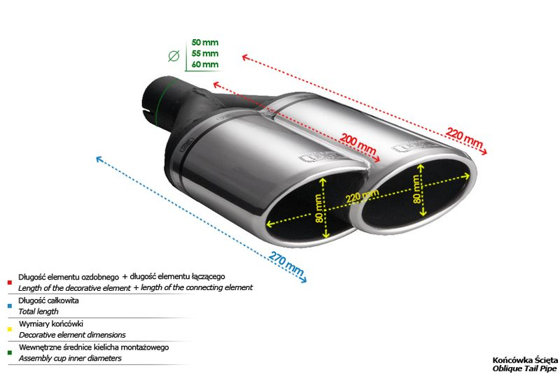 ULTER SPORT Koncovka výfuku 2x80 mm, levá N2-55L*