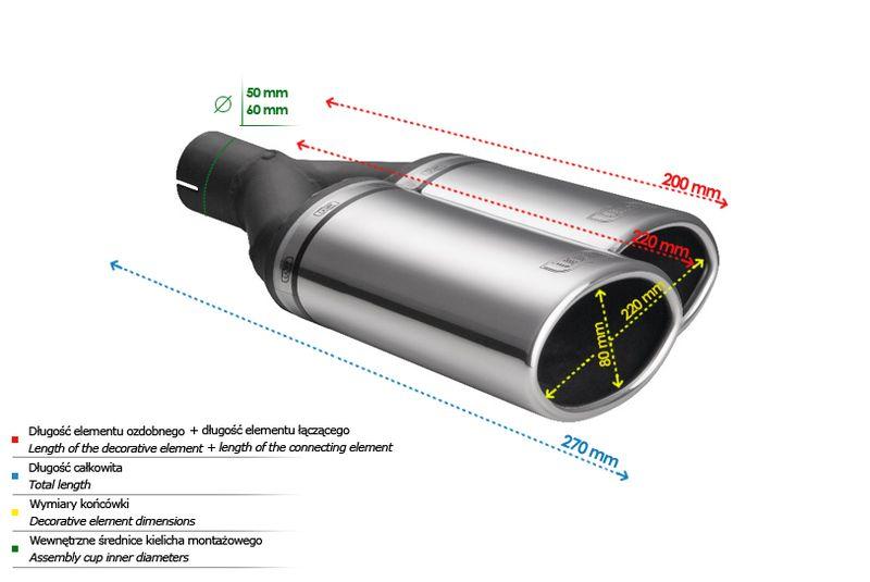 ULTER SPORT Koncovka výfuku 2x80 mm, pravá N2-54P*