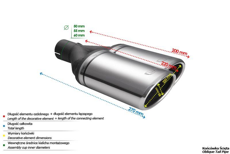 ULTER SPORT Koncovka výfuku 2x80 mm, pravá N2-55P*