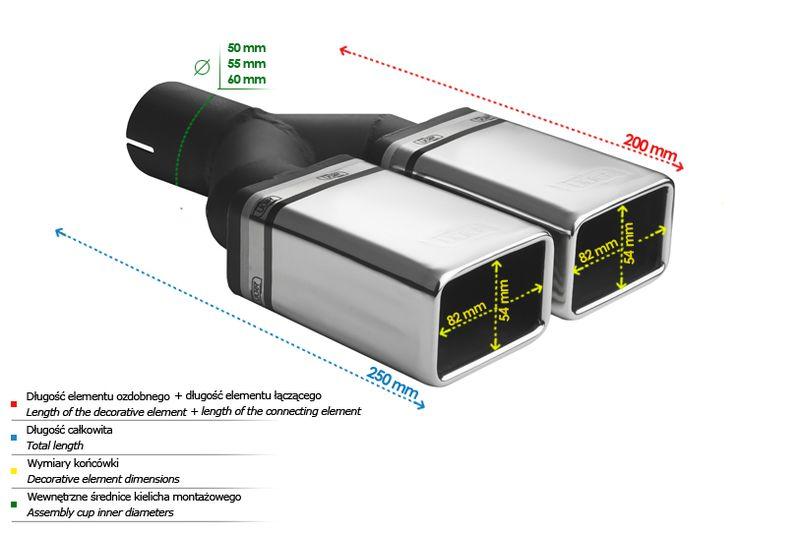 ULTER SPORT Koncovka výfuku 2x82x54 mm N2-44*