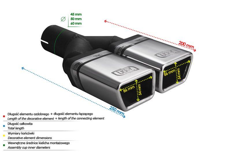 ULTER SPORT Koncovka výfuku 2x86x54 mm N2-58*