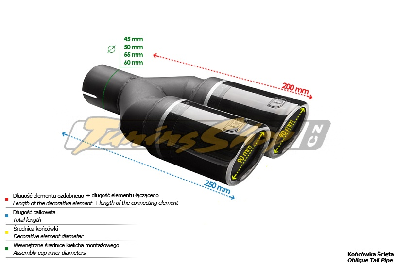 ULTER SPORT Koncovka výfuku 2x90 mm BlackLine NBL2-90RS*