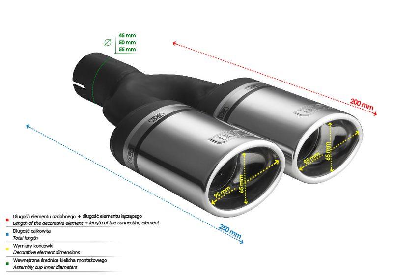 ULTER SPORT Koncovka výfuku 2x95x65 mm N2-10