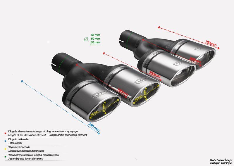 ULTER SPORT Koncovka výfuku 2x95x65 mm, levá N2-10-1L