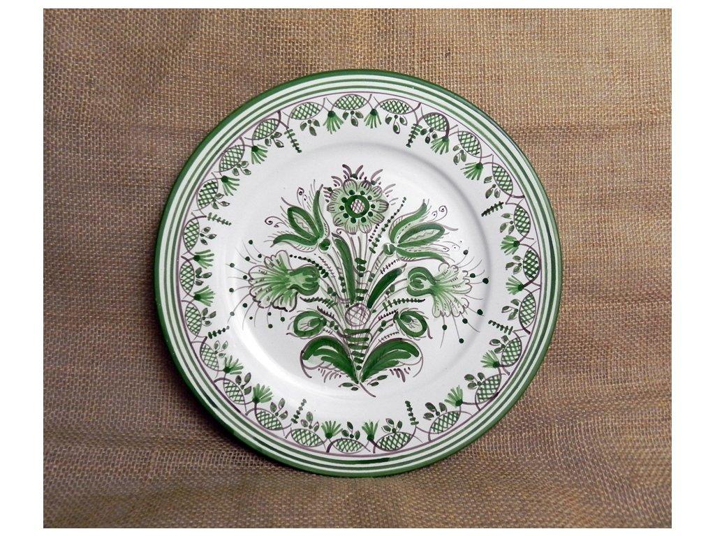 Talíř keramický se zeleným okrajem