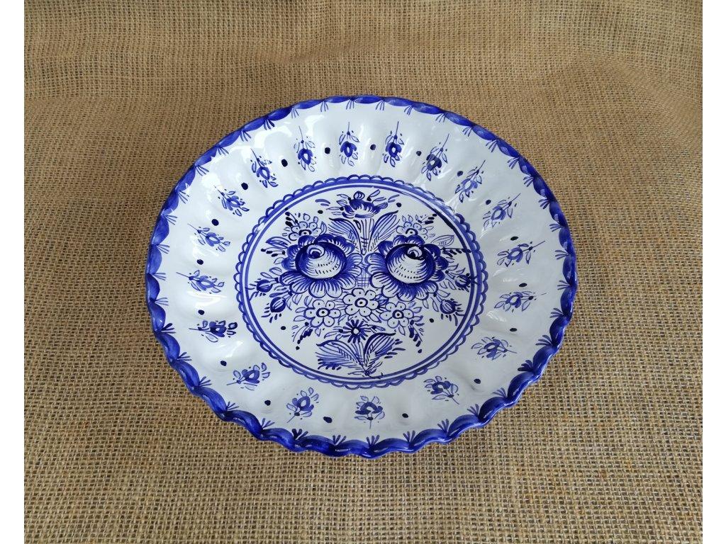 Miska karbovaná modro bílá 25 cm