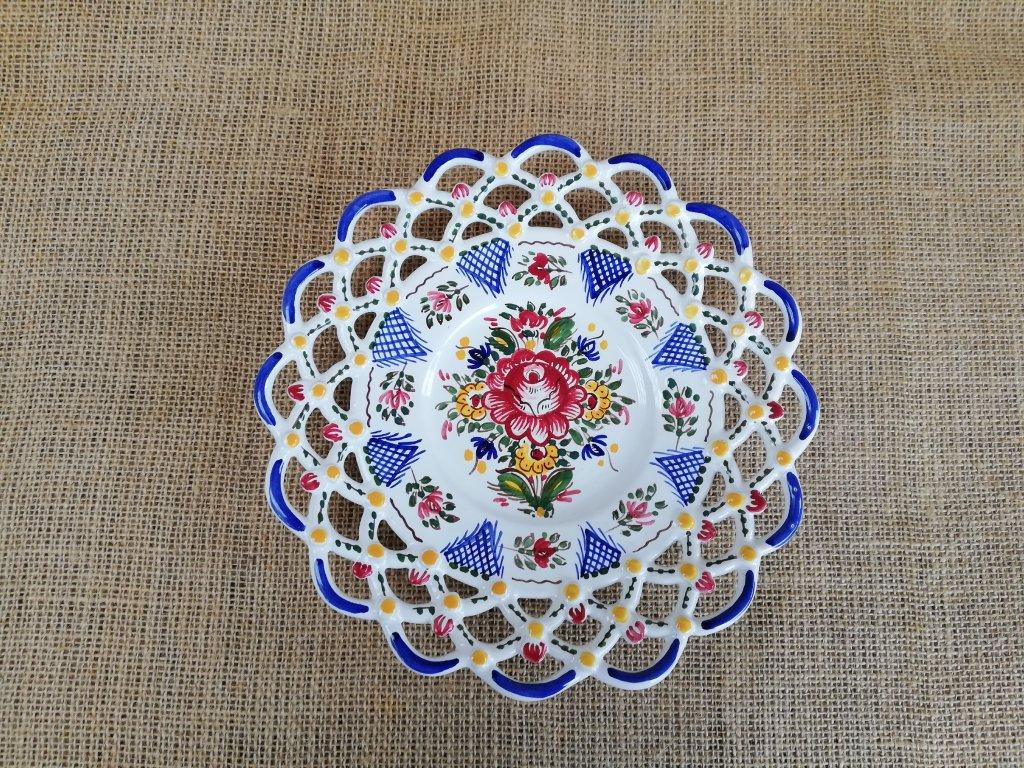 Barevný keramický talíř - 3 krajky