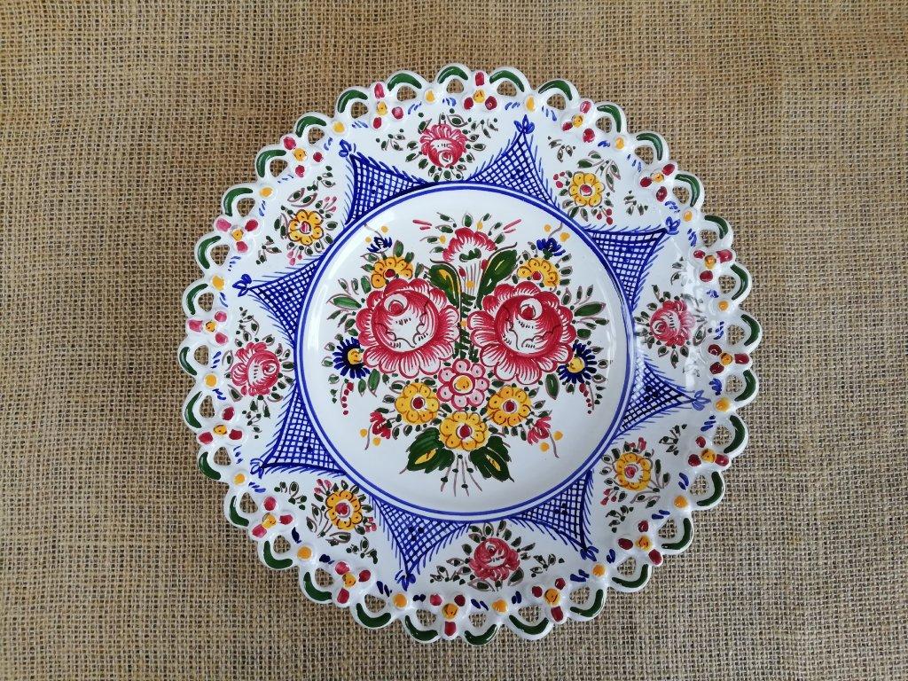 Keramický talíř barevný - 1 krajka