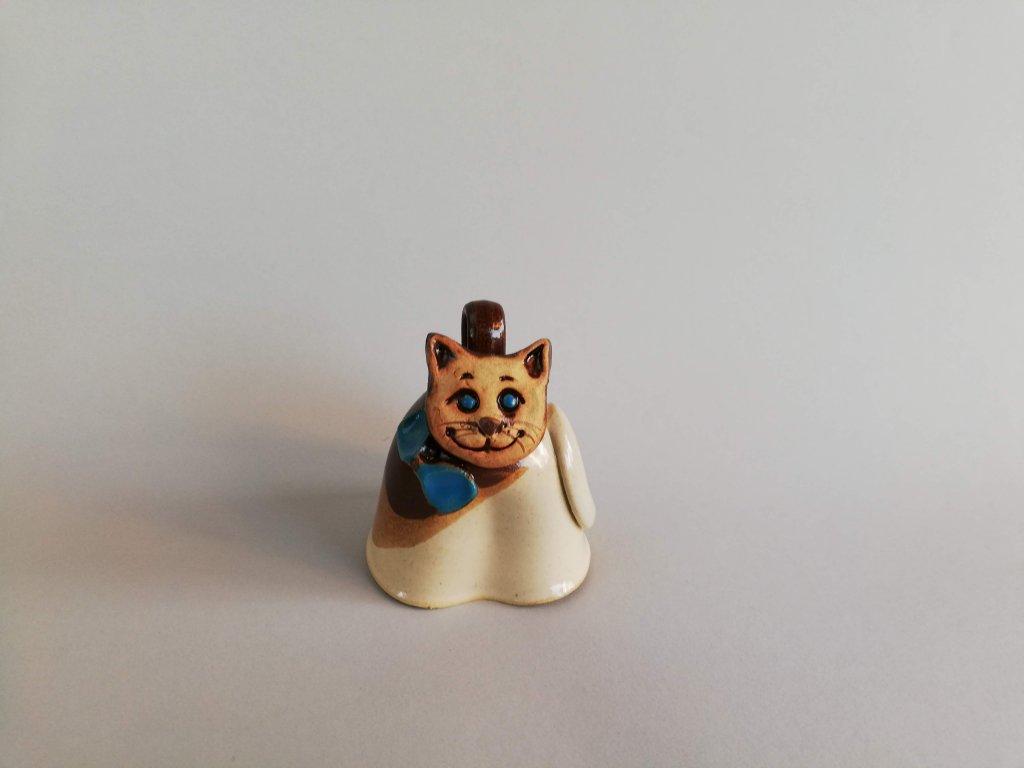 Zvonek kočička s modrou mašlí