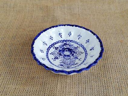 Miska karbovaná modro bílá 16 cm