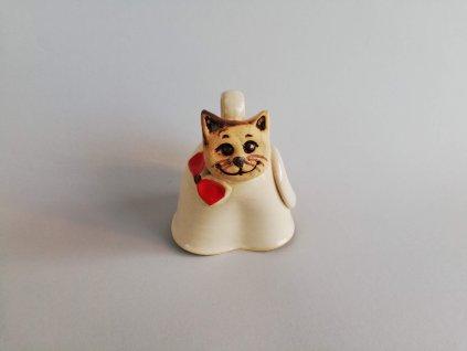 Zvonek kočička s červenou mašlí