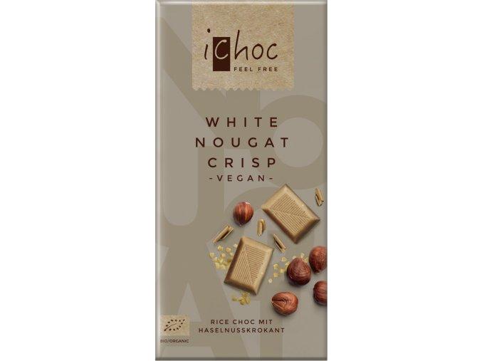 Bio rýžový bílý nugát s oříšky iChoc 80 g
