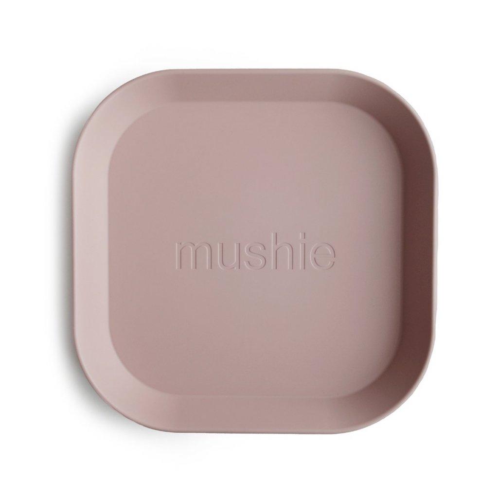 Mushie hranaty tanier 2ks blush